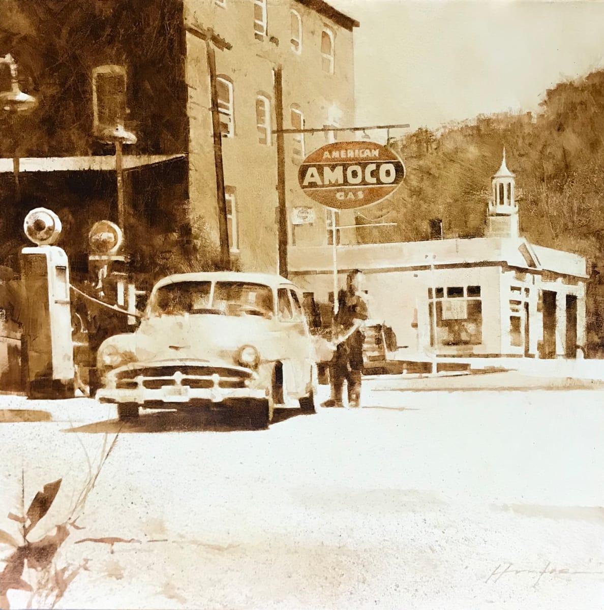AMOCO, BRIDGE STREET, BELLOWS FALLS VT, EARLY 1950'S by Charlie Hunter