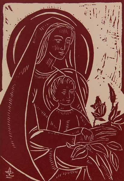 Untitled (Madonna and Child--White Ink on Dark Red Paper)