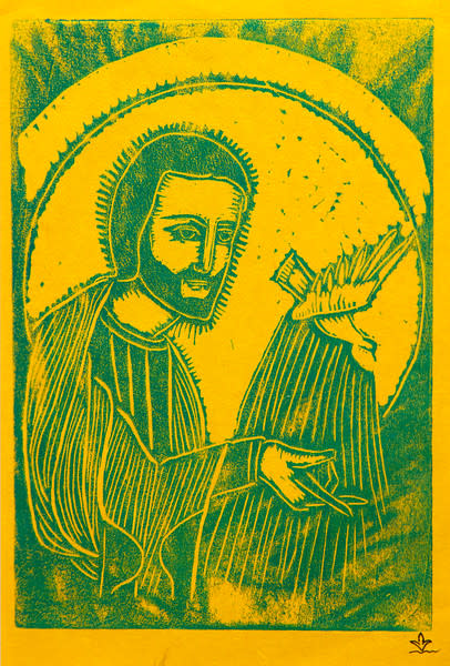 Untitled (Jesus with Bird--Green Ink on Yellow Paper)