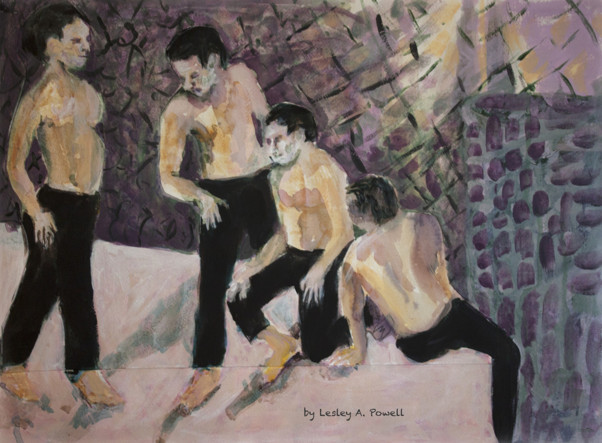 Four Men on Pink Floor by Lesley A. Powell