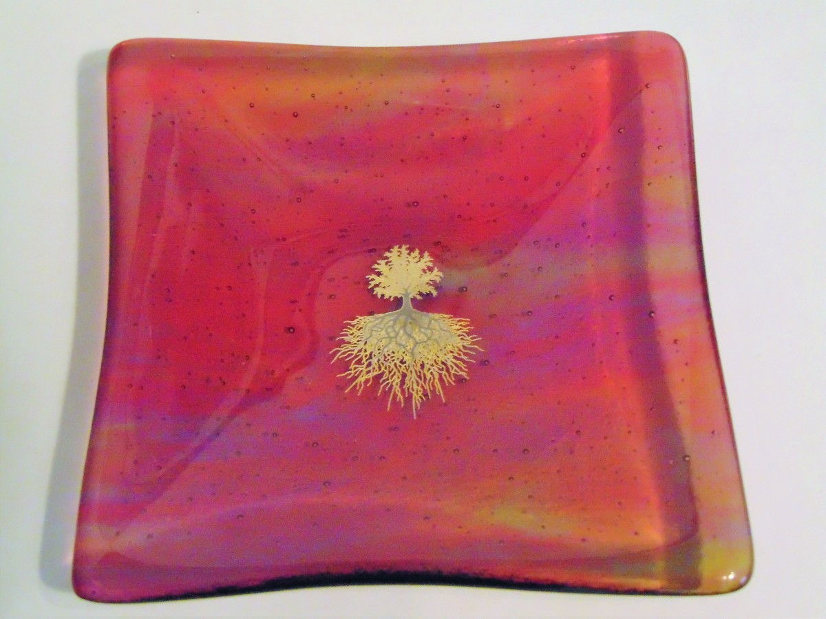 Multi-Colored dish with Tree of Life