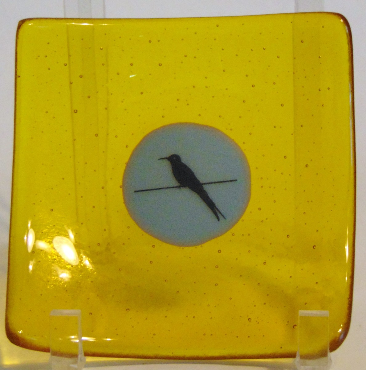 Plate-Yellow with blue center with bird decal