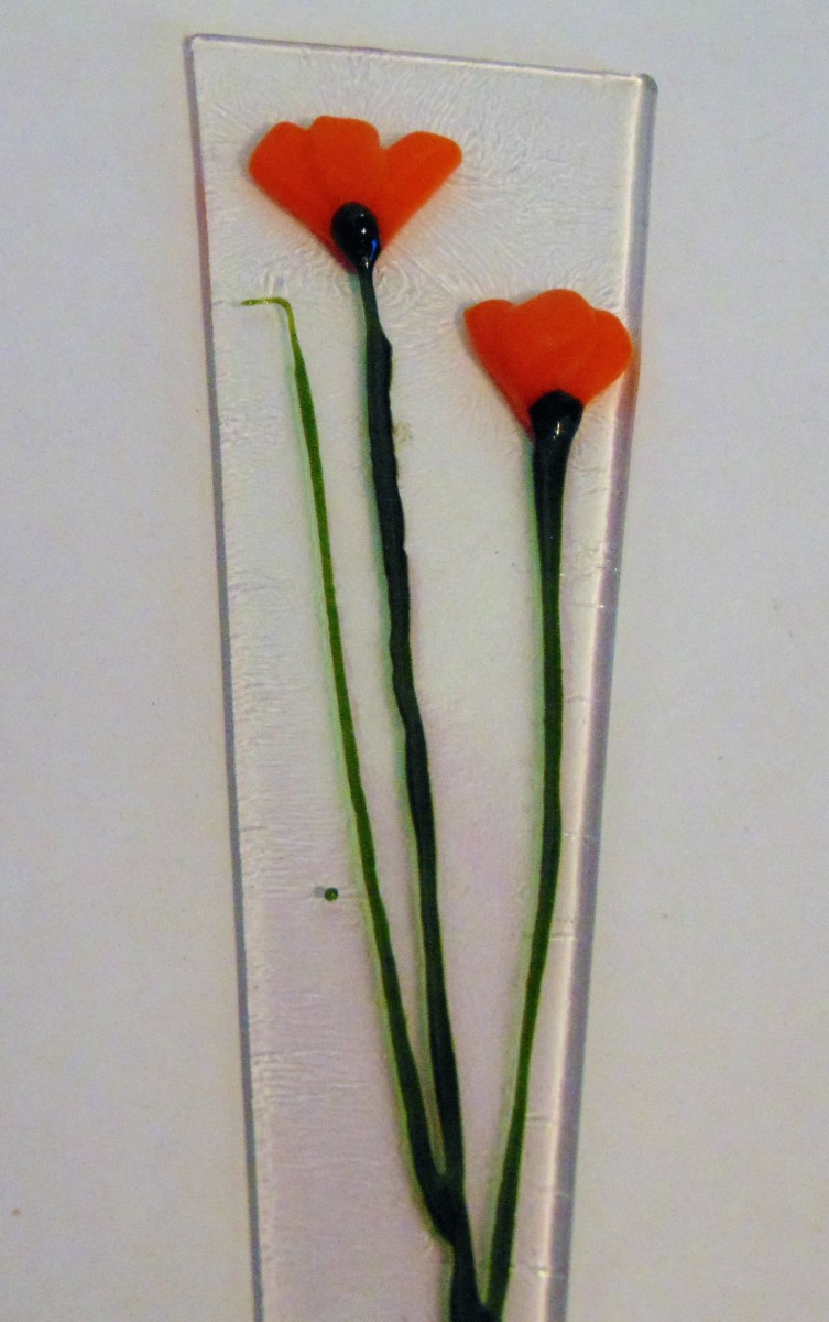Plant Stake-Orange Poppies