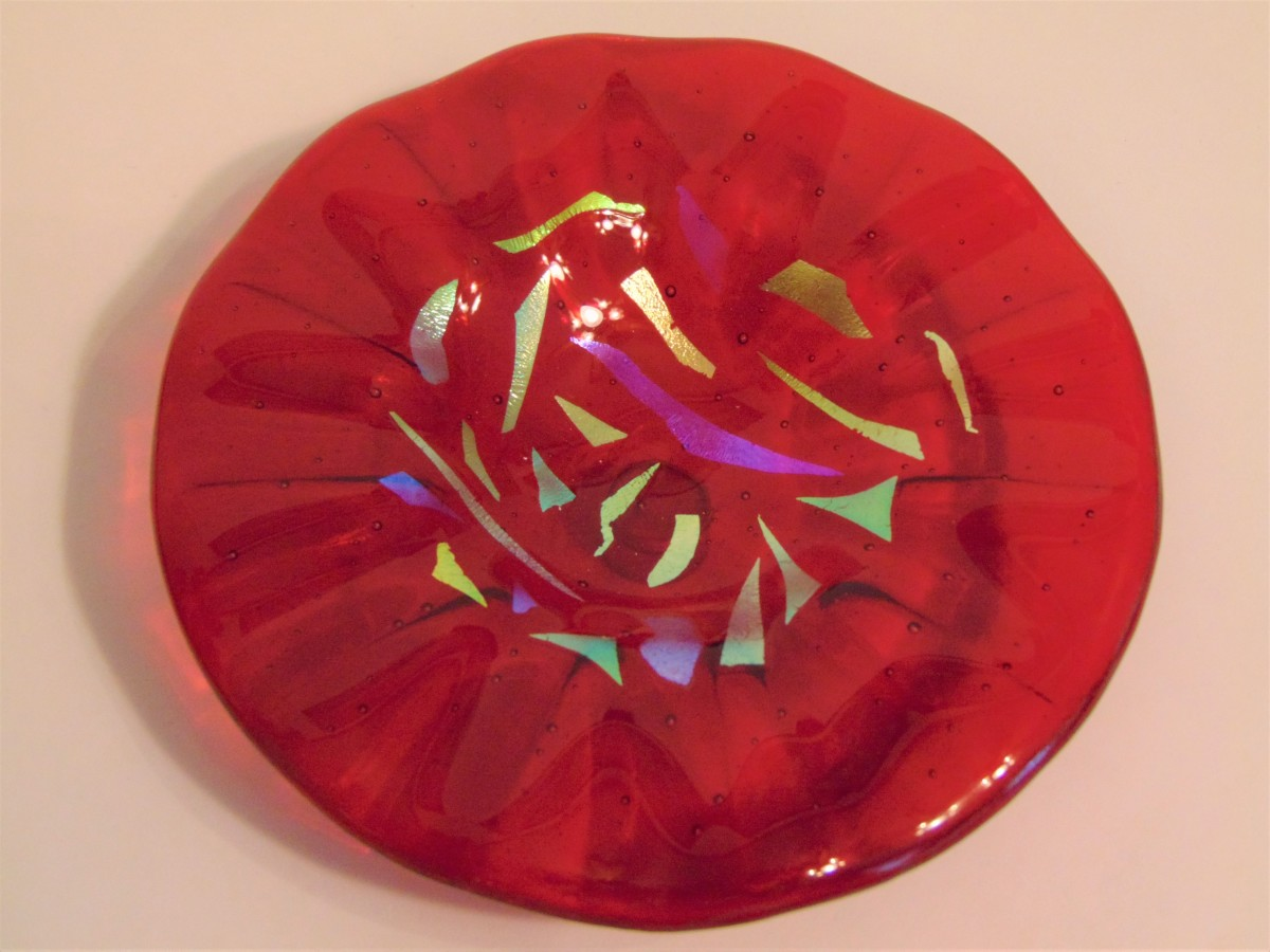 Bird Feeder-Red with Dichroic accents