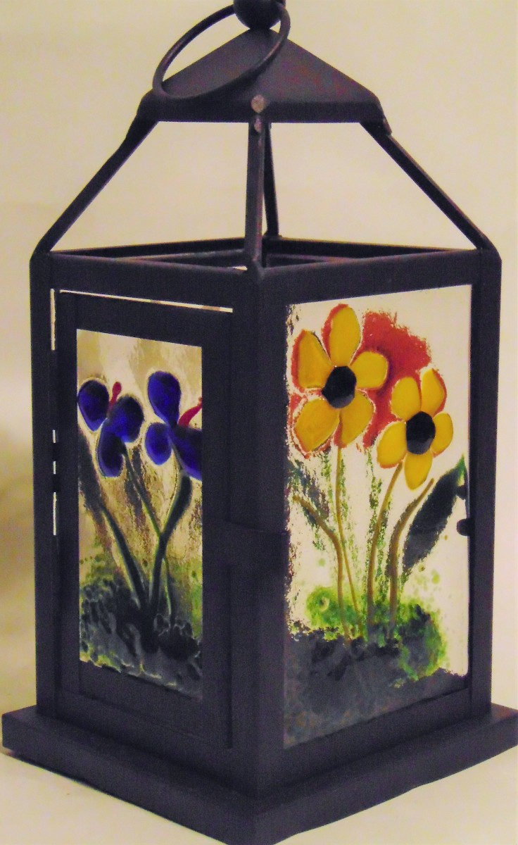 Lantern with Botanical Panels