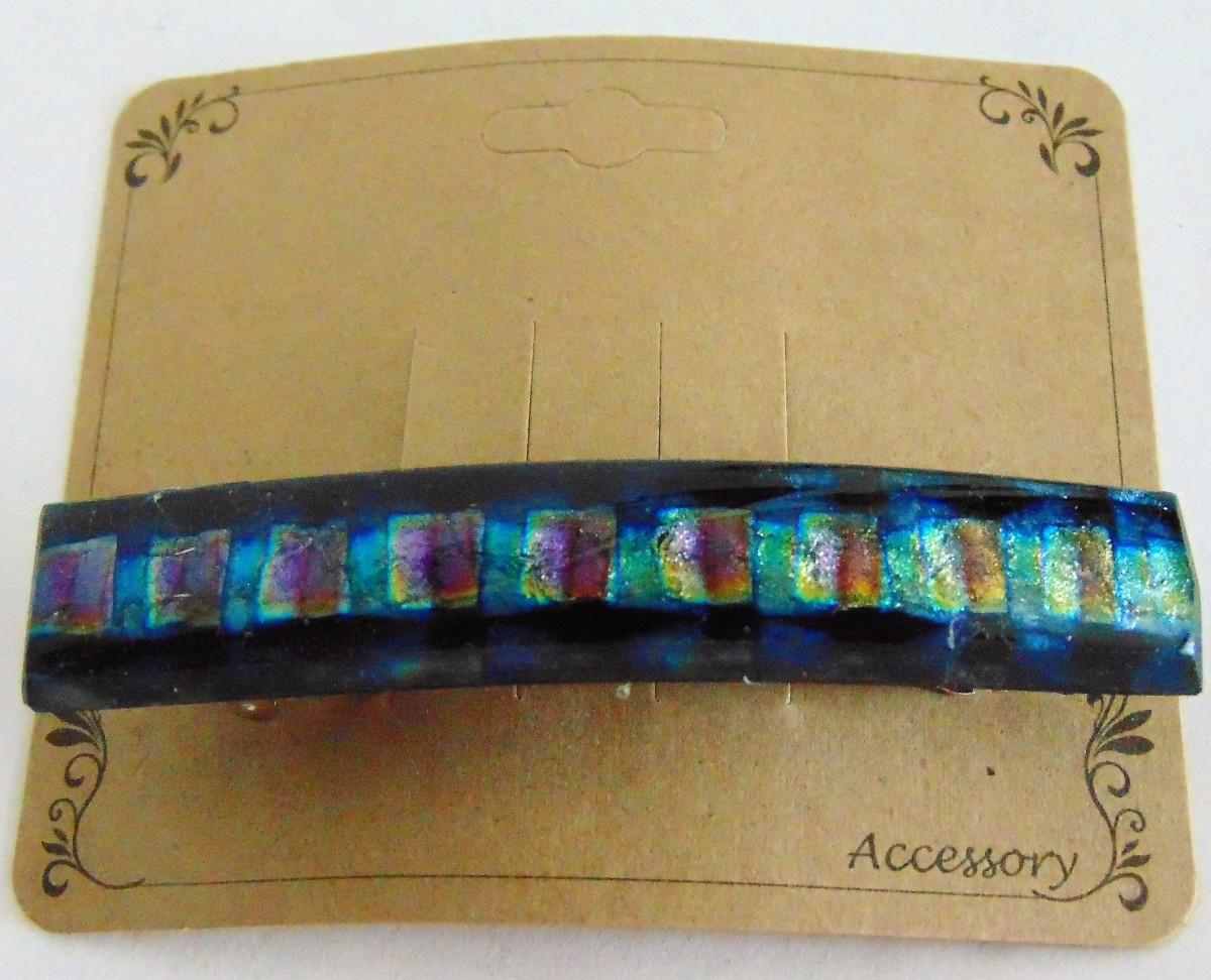 Barrette, Dichro-Blue/Gold/Green Checks, Capped
