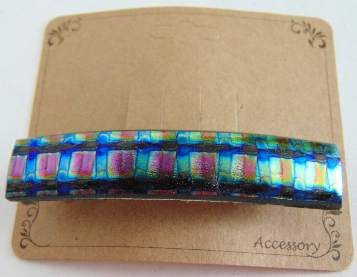 Barrette, Dichro-Gold/Blue/Green Checks, Uncapped