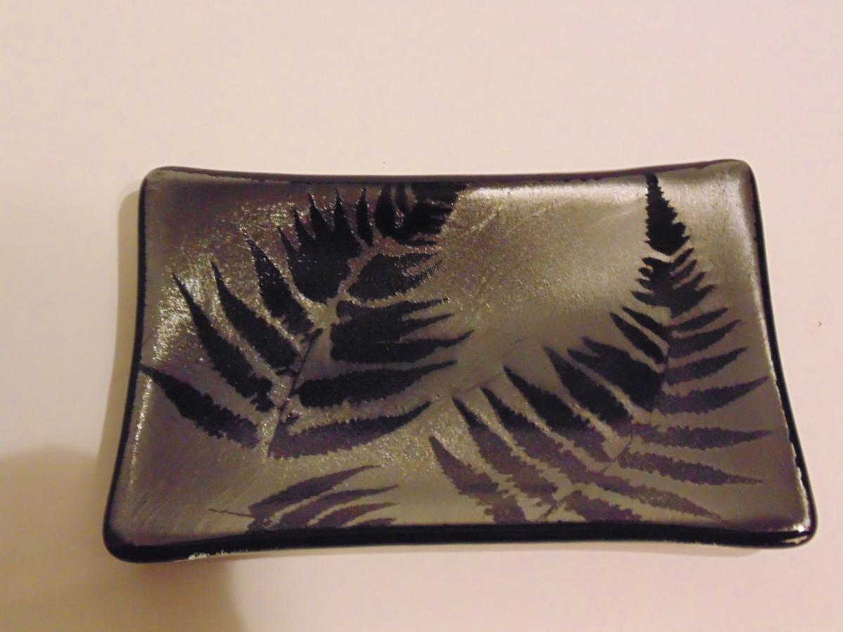 Soap Dish-Ferns on Silver Irid