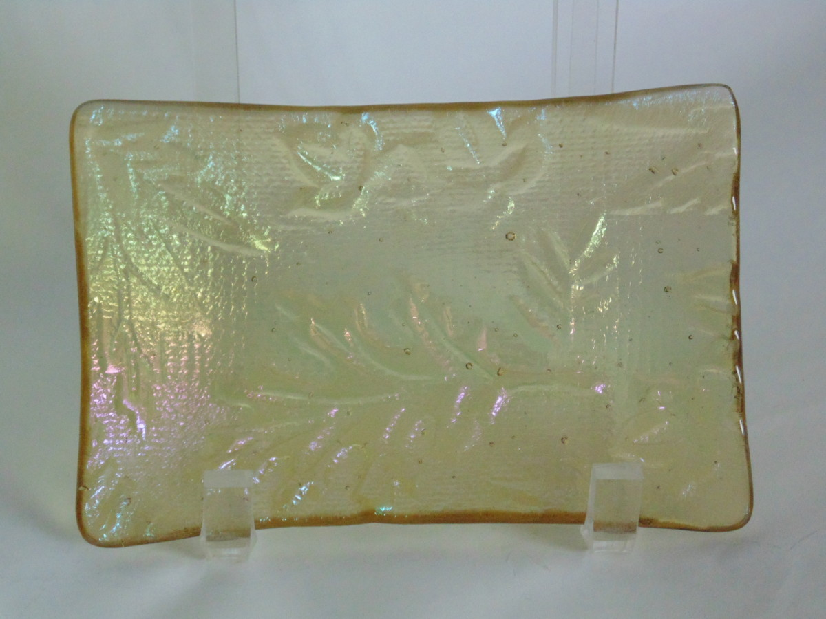 Soap Dish/Spoon Rest-Light Amber Irid with Leaf Imprint