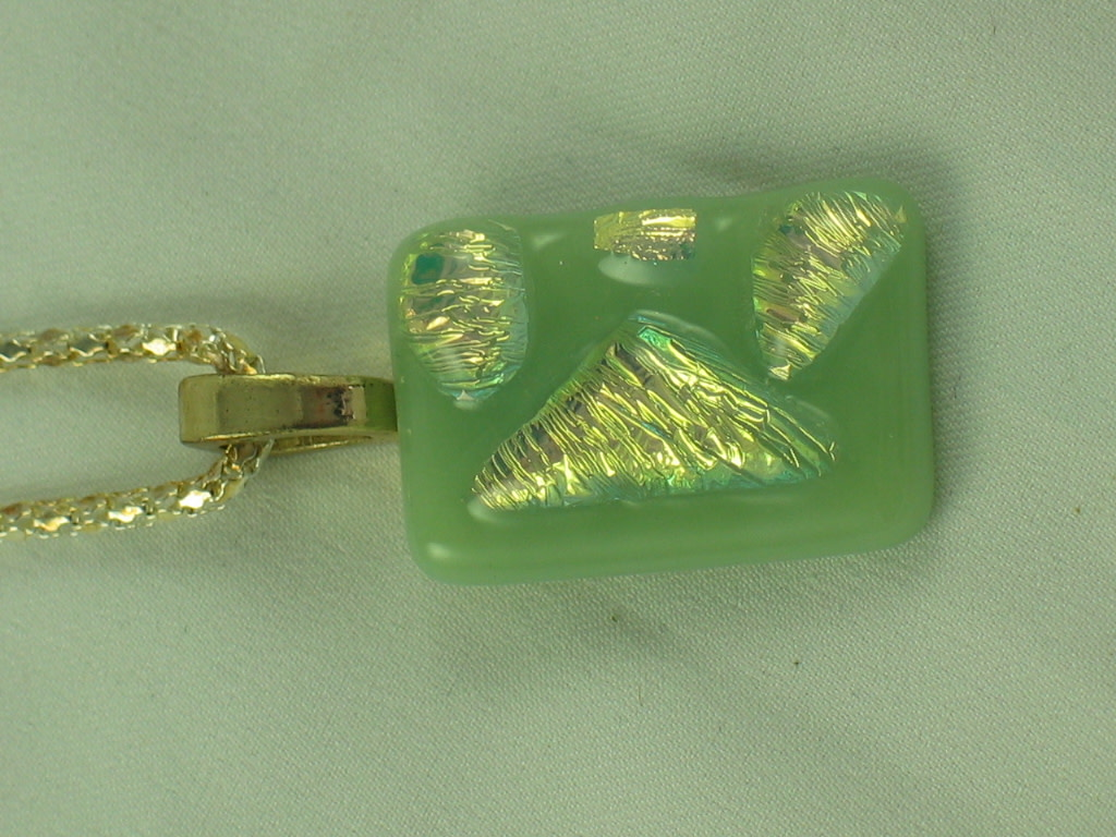 Green  & Gold dichro necklace
