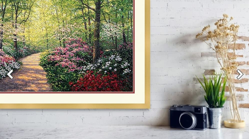 """Azalea Path LE Lithograph Paper Framed Gold 1"""" by Kevin D. Miles & Wendy Sue Schaefer Miles"""