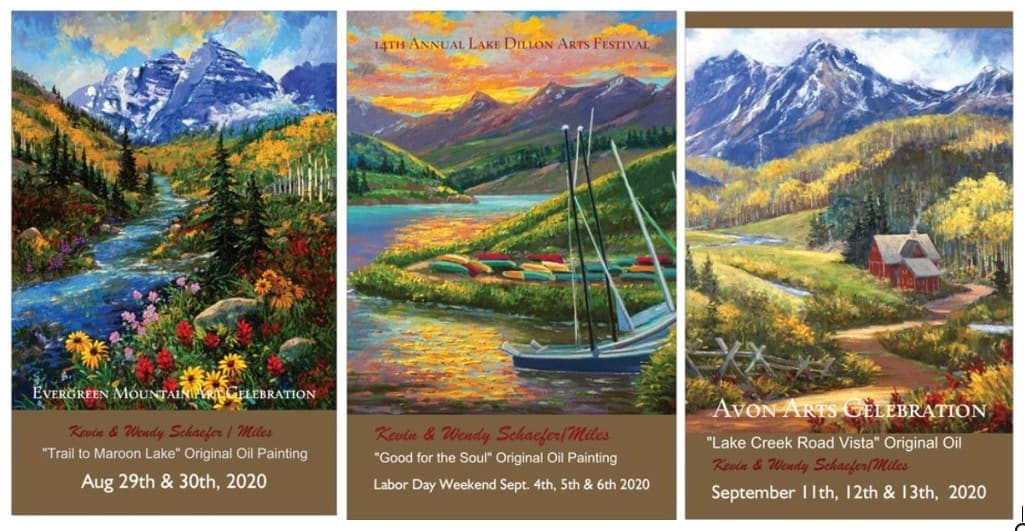 Collect all Three Posters Colorado Art Shows 2020 by Kevin D. Miles & Wendy Sue Schaefer Miles
