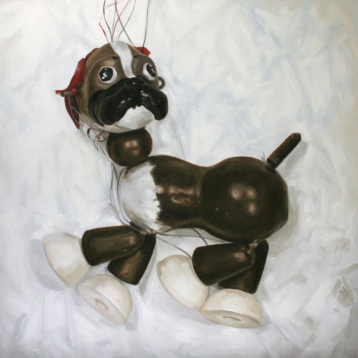 Bengo Boxer Dog, Pelham puppet by Yvonne East