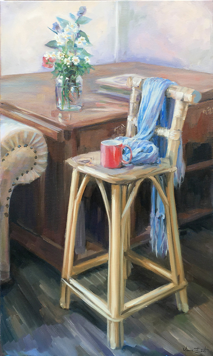 Study of studio with blue scarf and flowers by Yvonne East