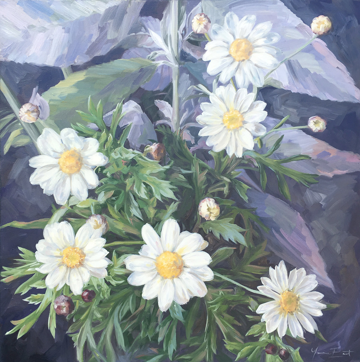 Daisies and budleah by Yvonne East