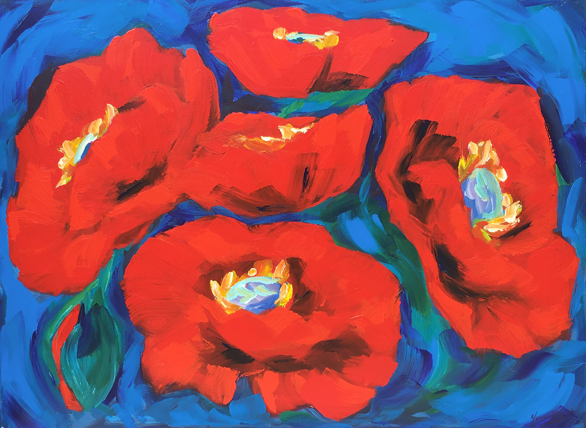 Poppies (vermillion and ultramarine study) by Yvonne East