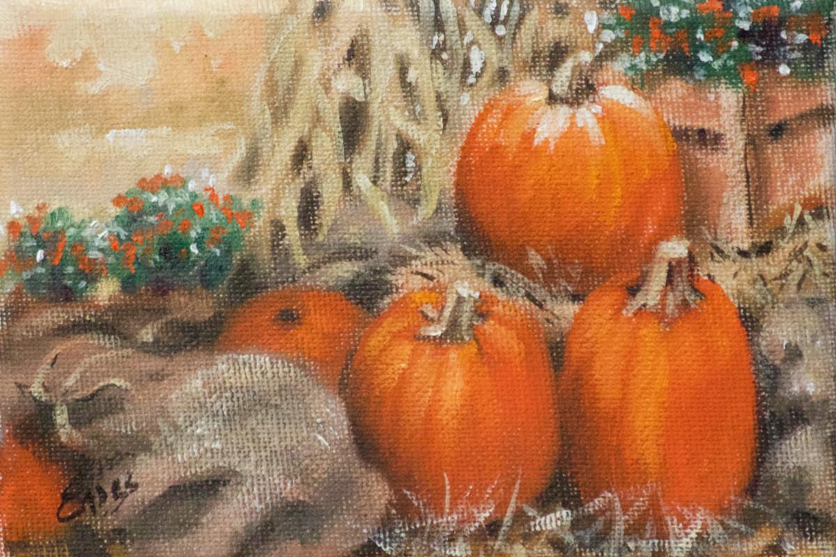 Burlap Bags and Pumpkins by Linda Eades Blackburn