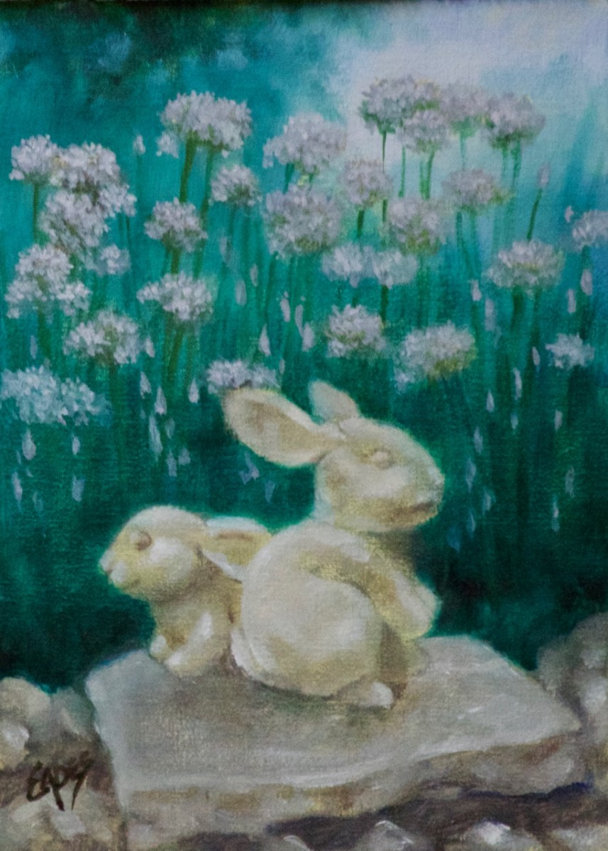Chives and Stone Bunnies by Linda Eades Blackburn