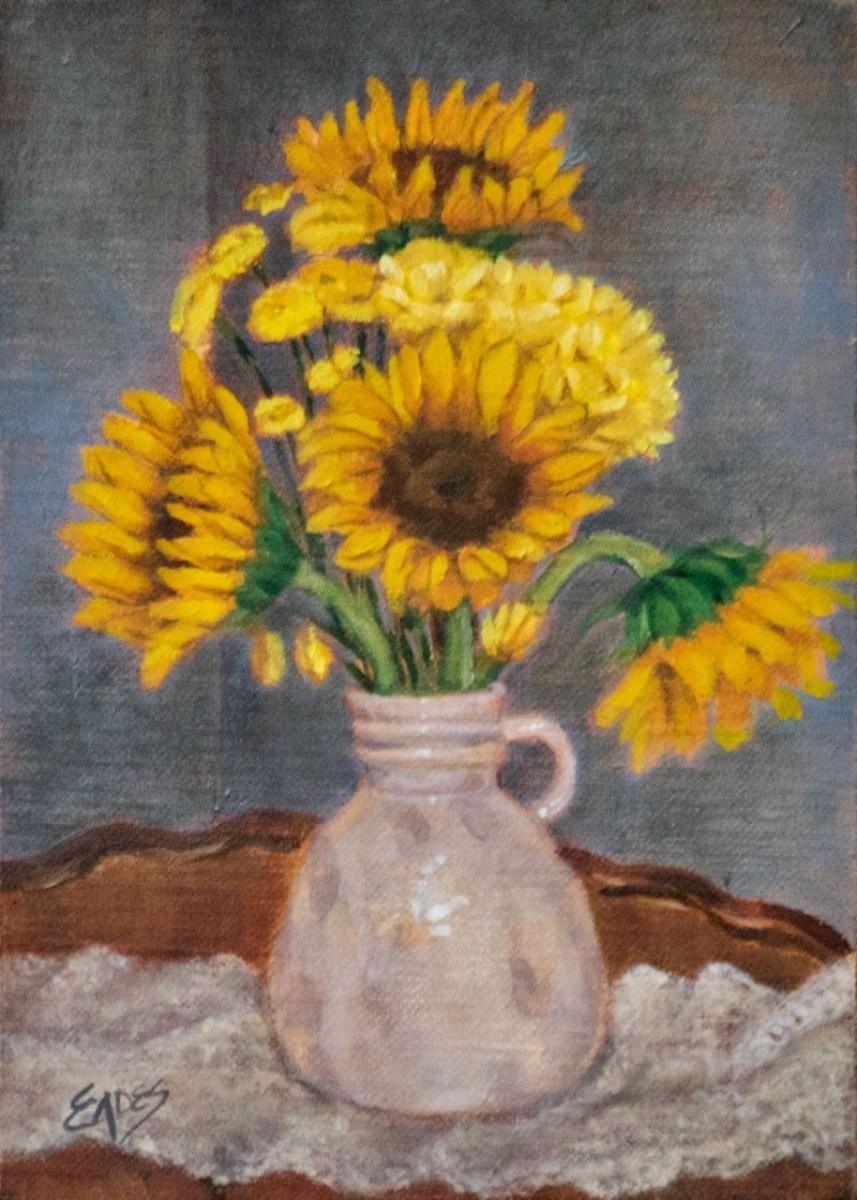 Sunflowers and White Vase by Linda Eades Blackburn