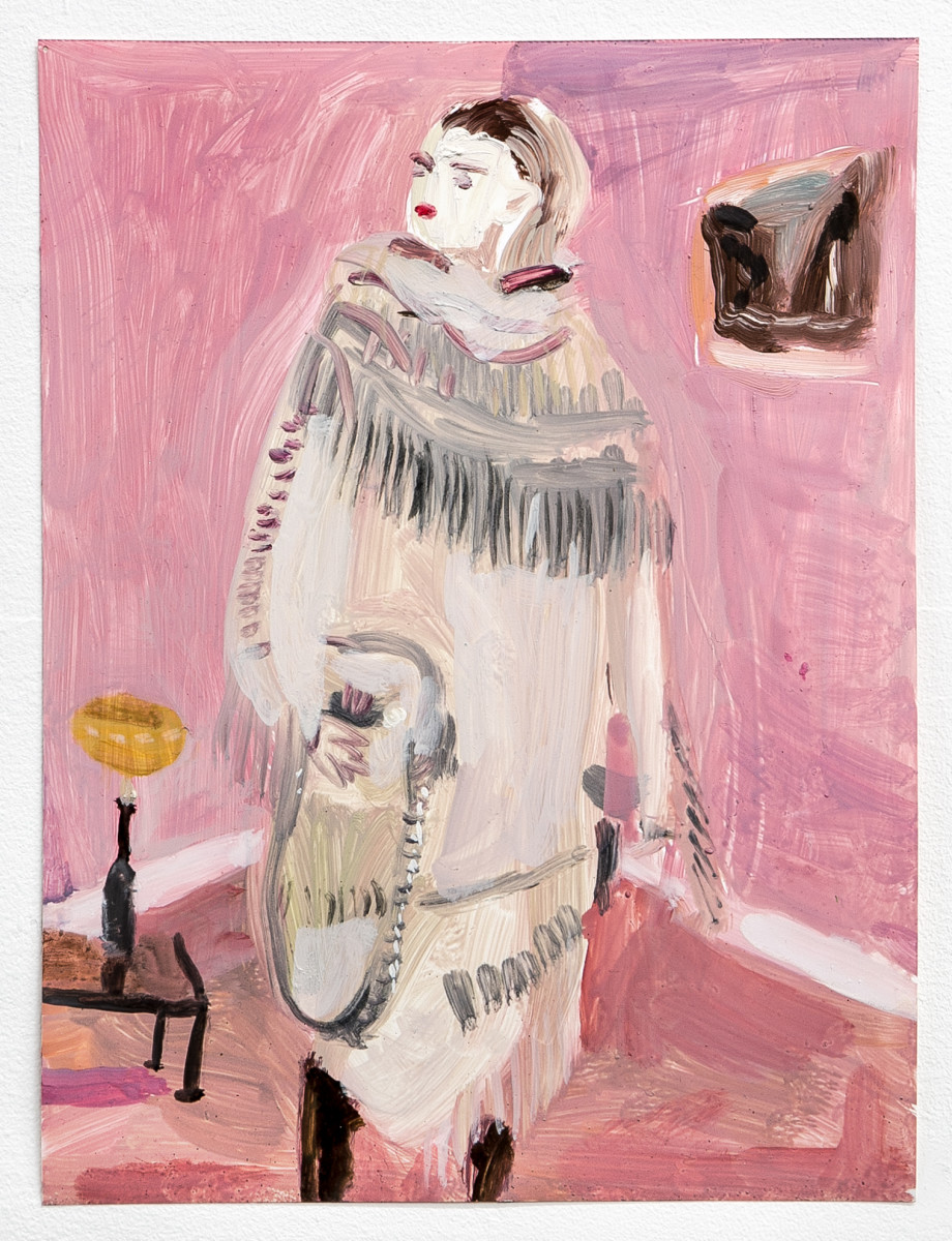 "Untitled, from the ""Fashion"" series (white fringe dress and pink background, ME09)"