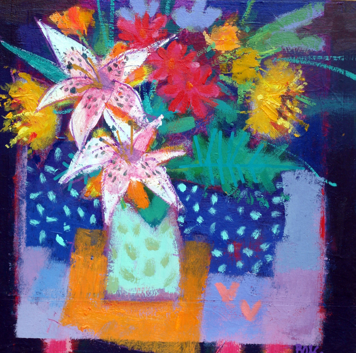 White lilies & love hearts by francis boag