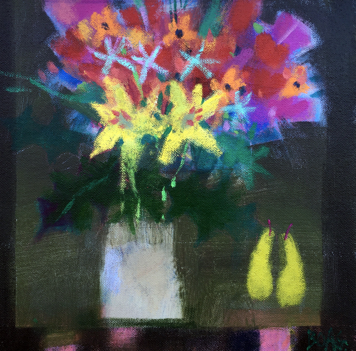 Yellow flowers and Pears by francis boag