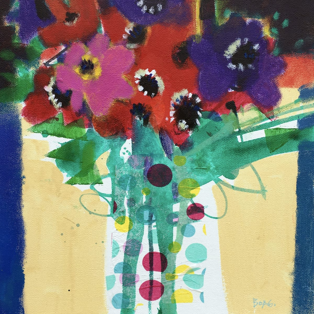 Flowers and polka dots by francis boag