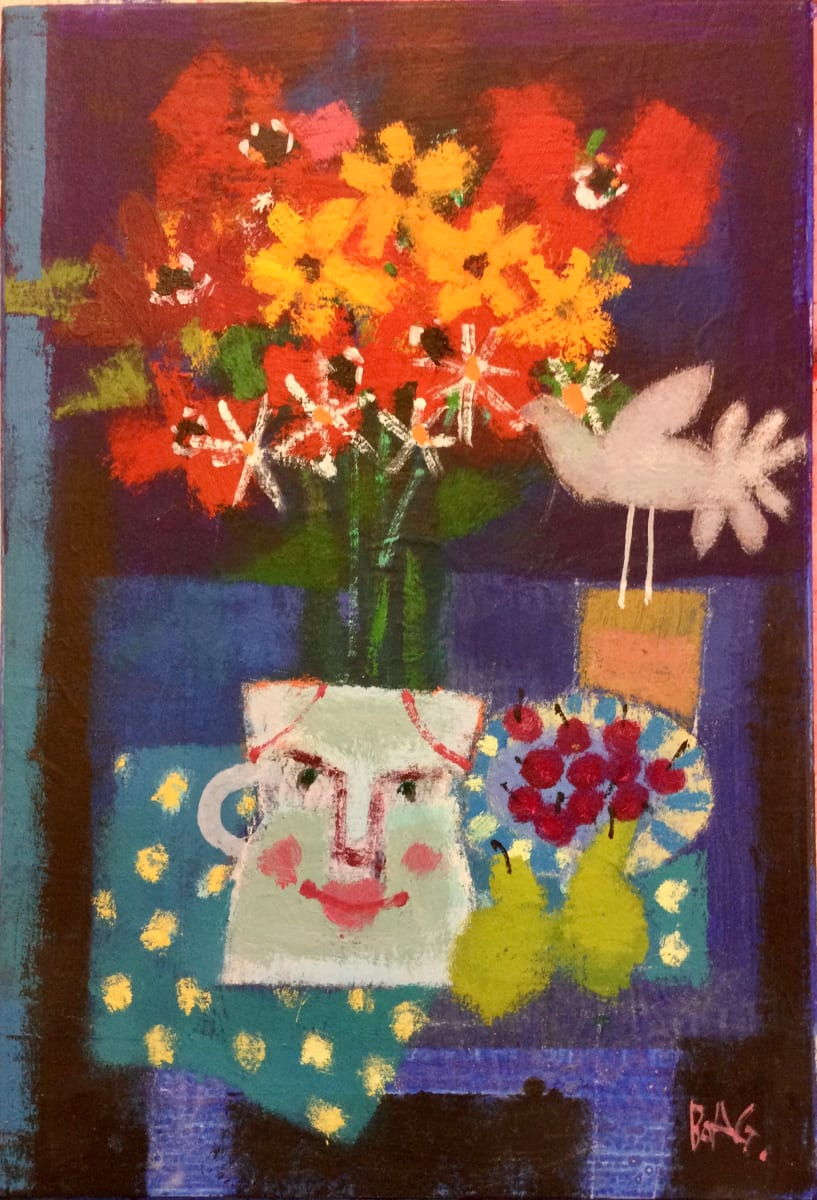 Jug with Anenomes and cherries by francis boag
