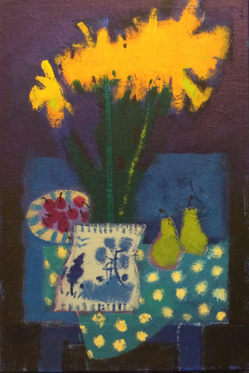 Daffodils and cherries by francis boag