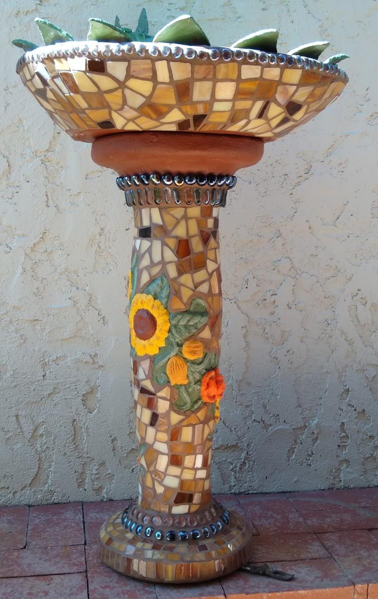 Agave Garden (bird bath) by Andrea L Edmundson