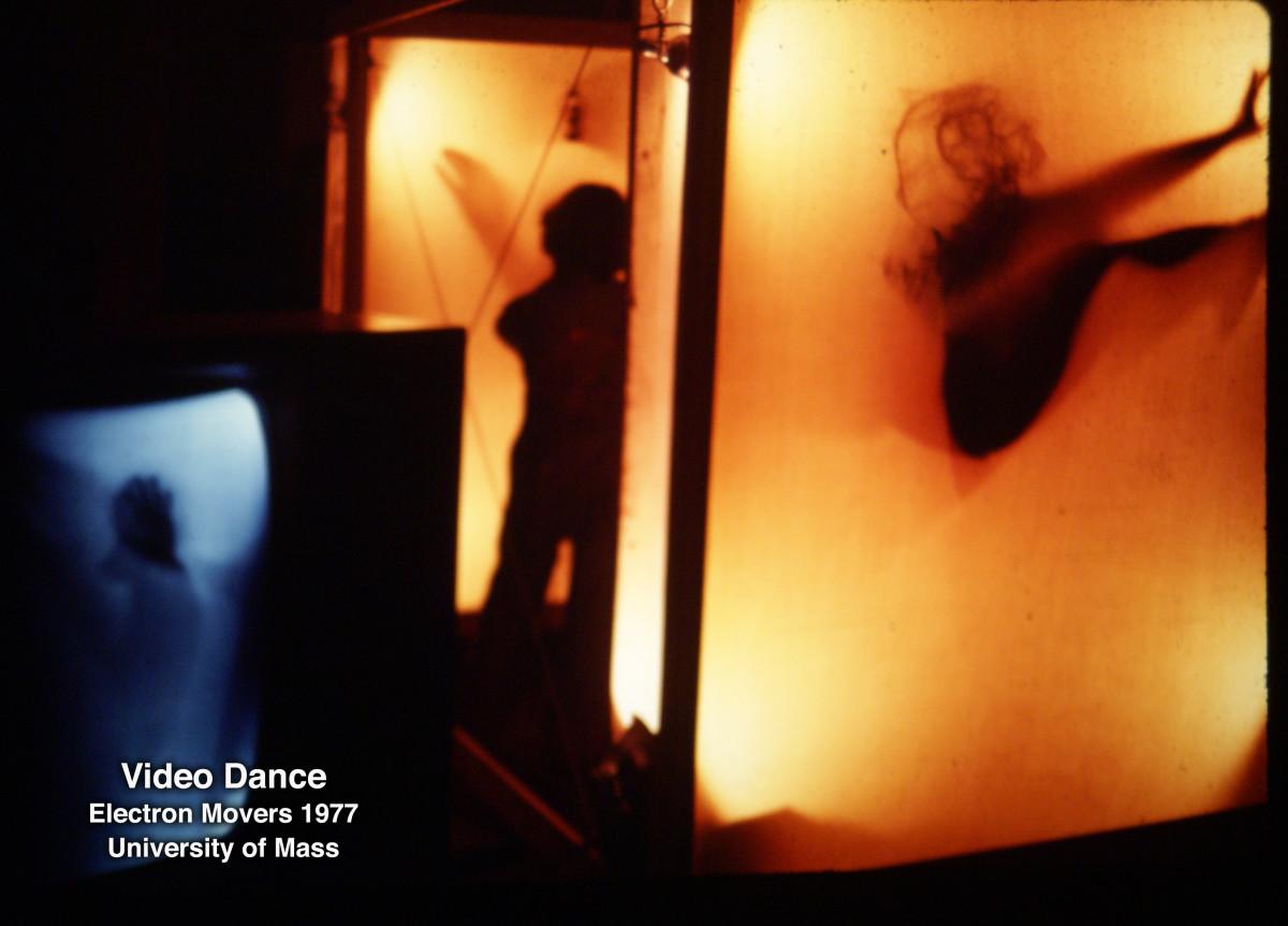 Video Dance , live video performance, University of Mass, 1977 by Alan Powell