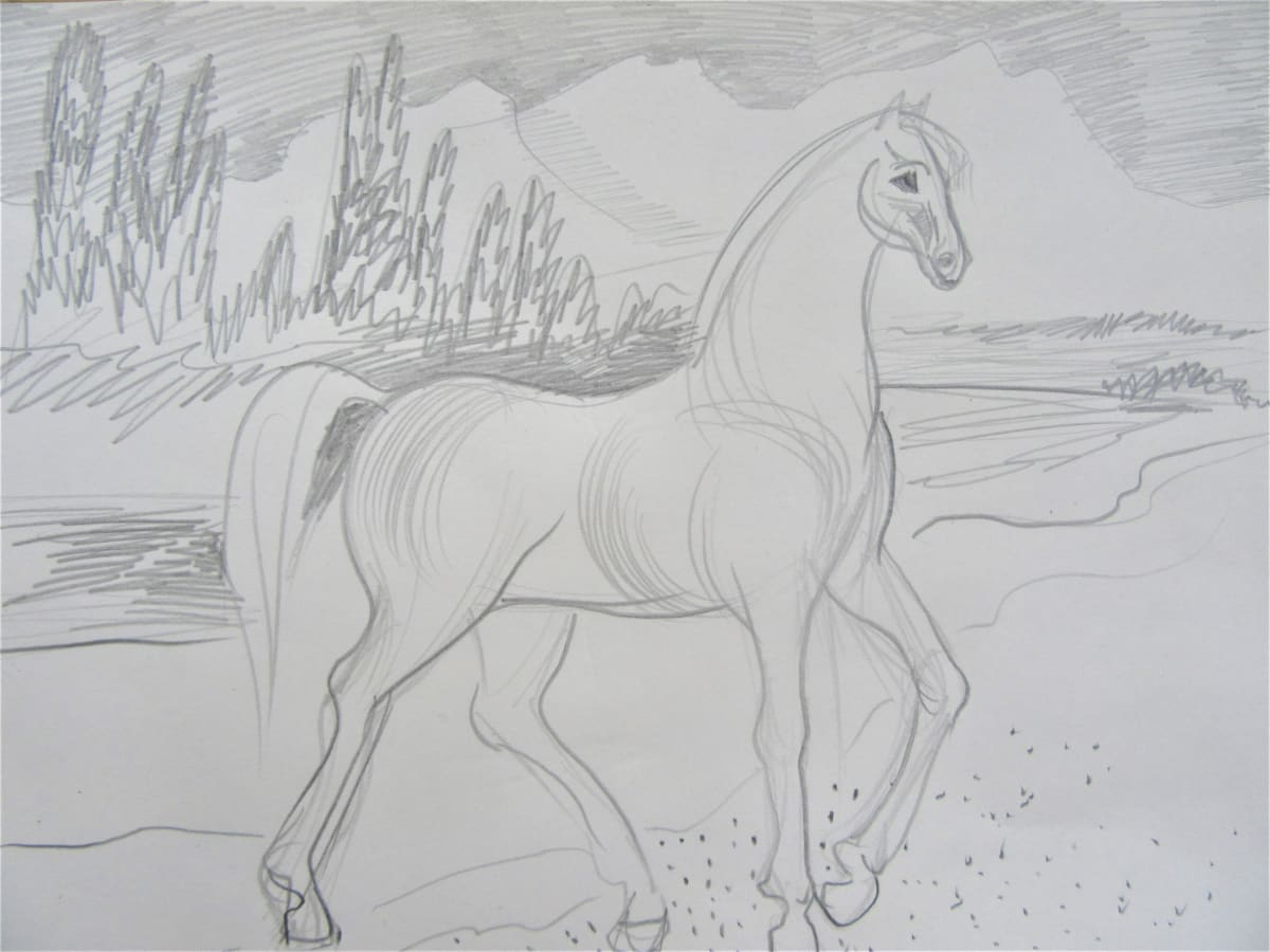 Horse with a mountain landscape by Gallina Todorova