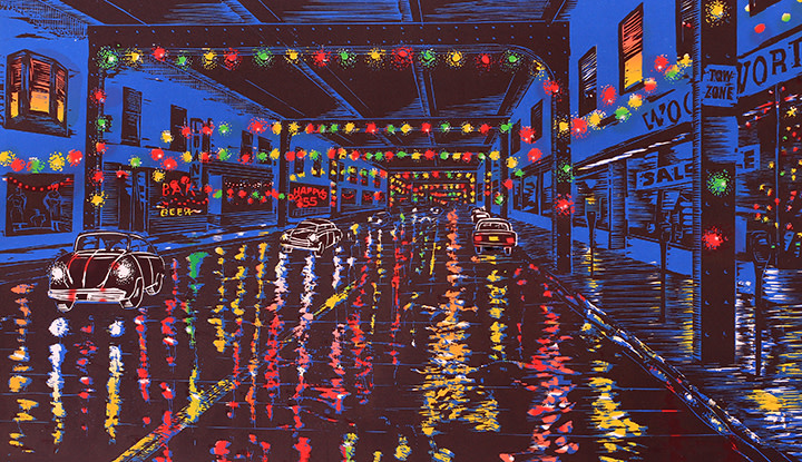 Xmas Eve on the Ave by Tony Lazorko