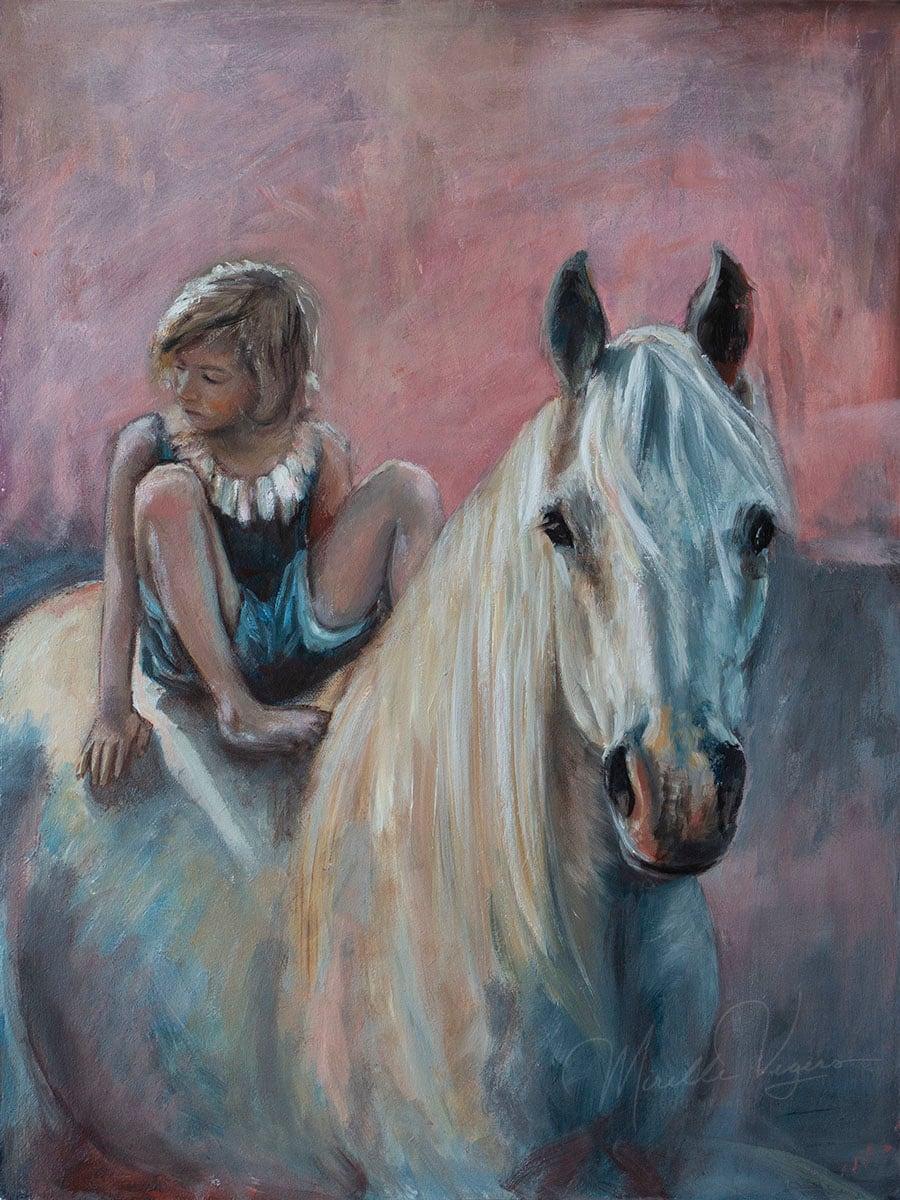 Boy on horse by Mirelle Vegers