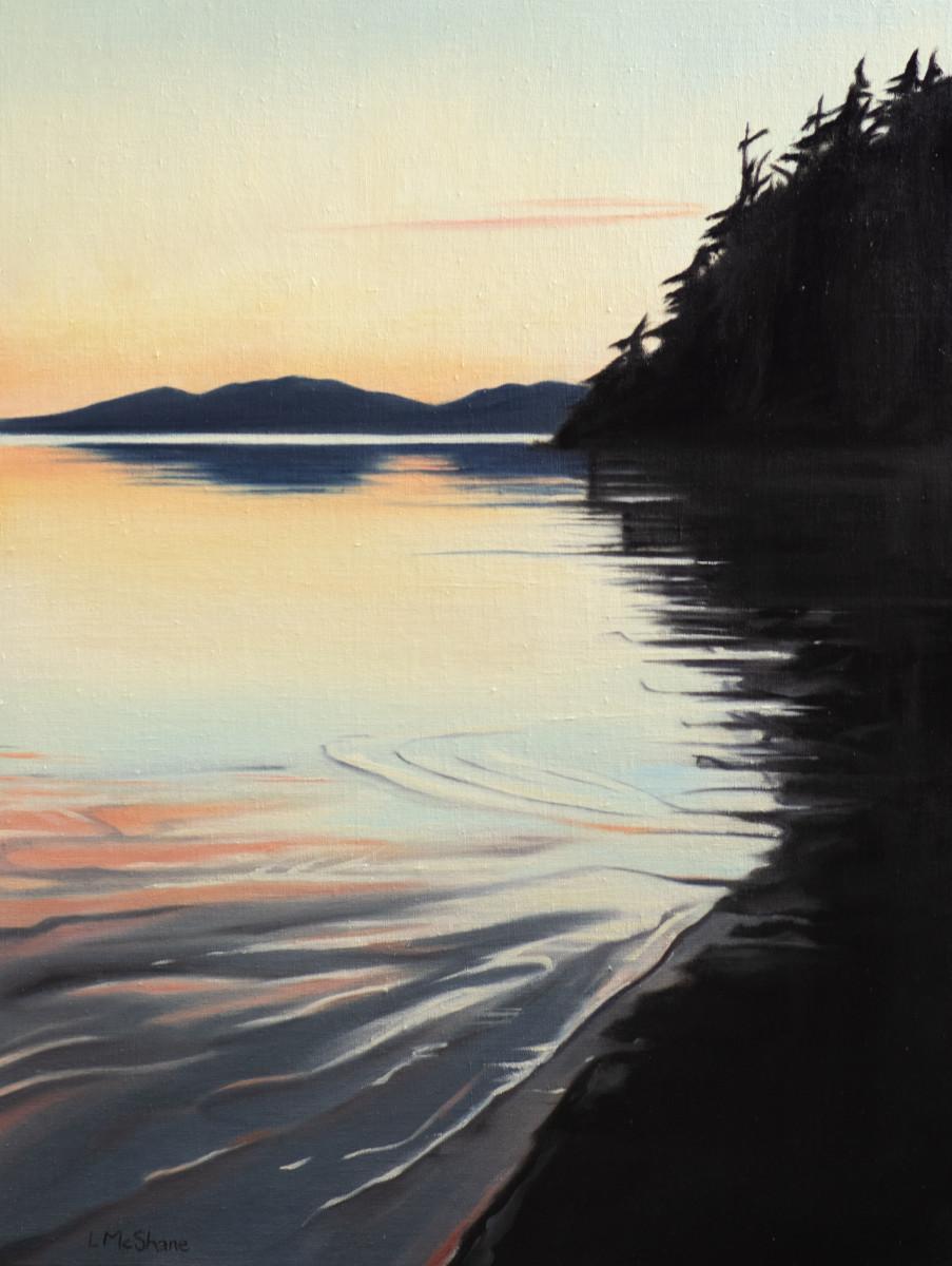 Samish: Towards Guemes from the Beach at Padilla Bay by Lisa McShane