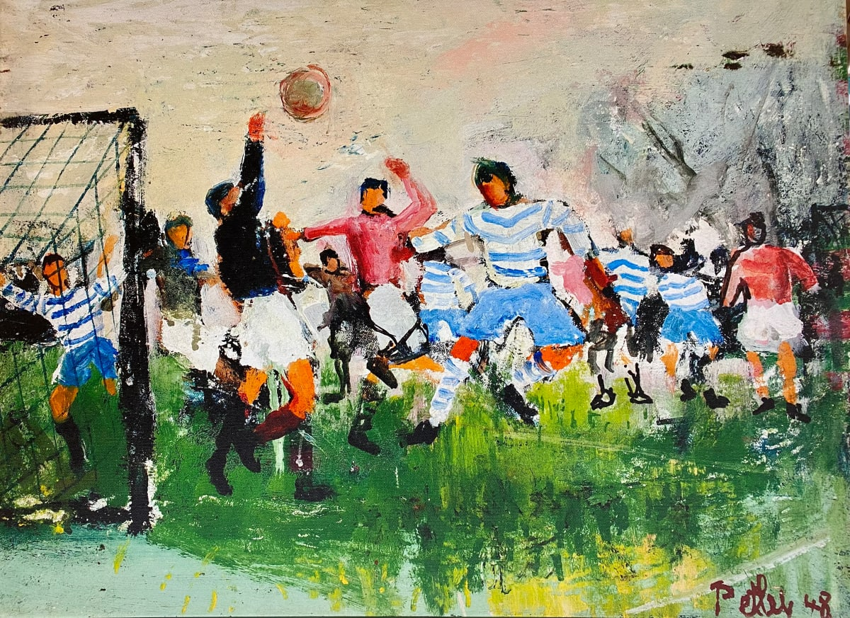 0287 - The Football Game, Richmond Park by Llewellyn Petley-Jones (1908-1986)