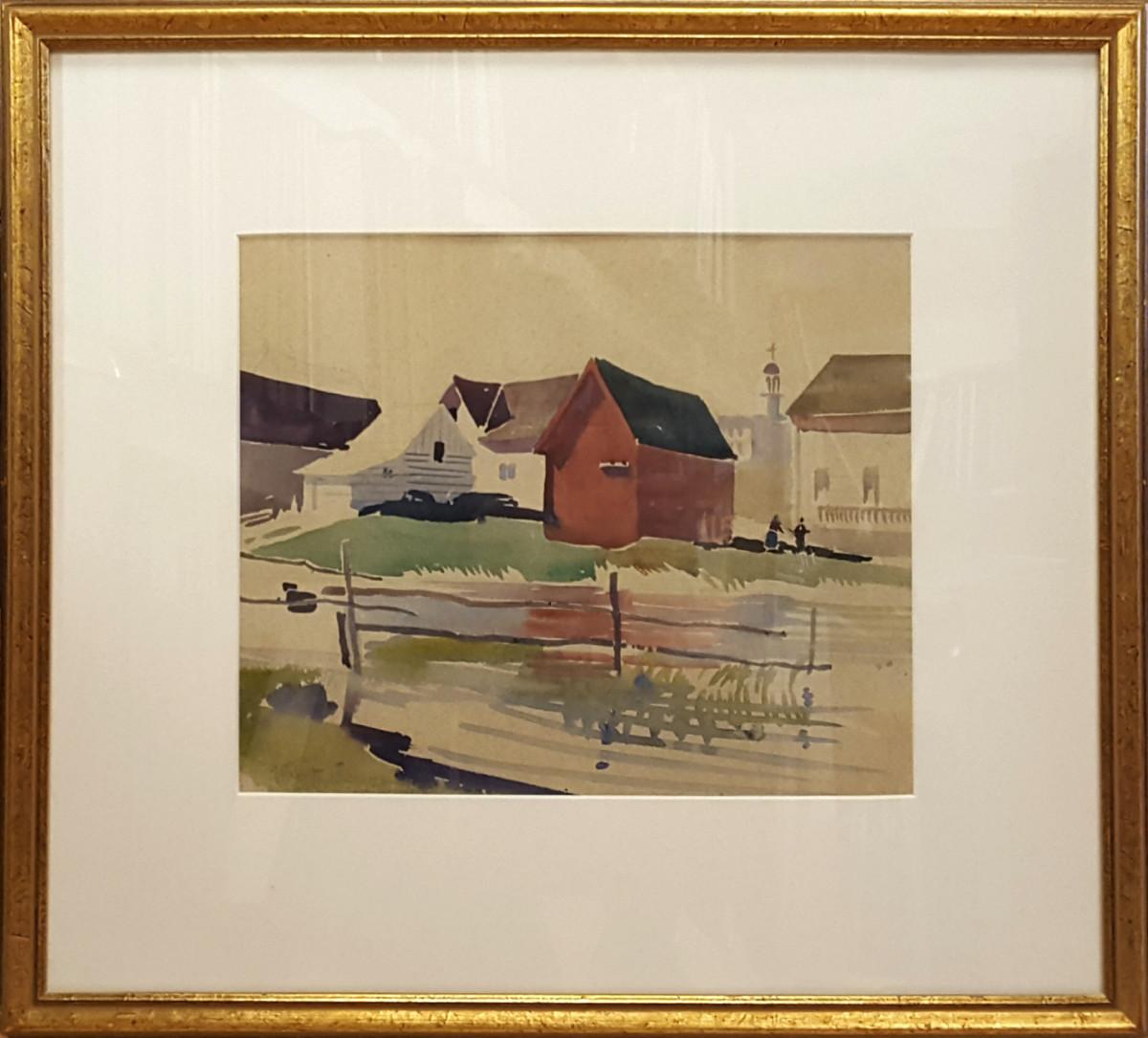 2429 - Church and Buildings by Llewellyn Petley-Jones (1908-1986)