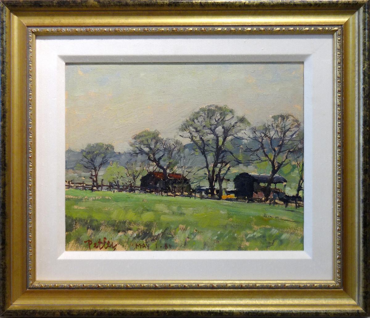 0219 - Farm in Spring, Richmond Surrey by Llewellyn Petley-Jones (1908-1986)