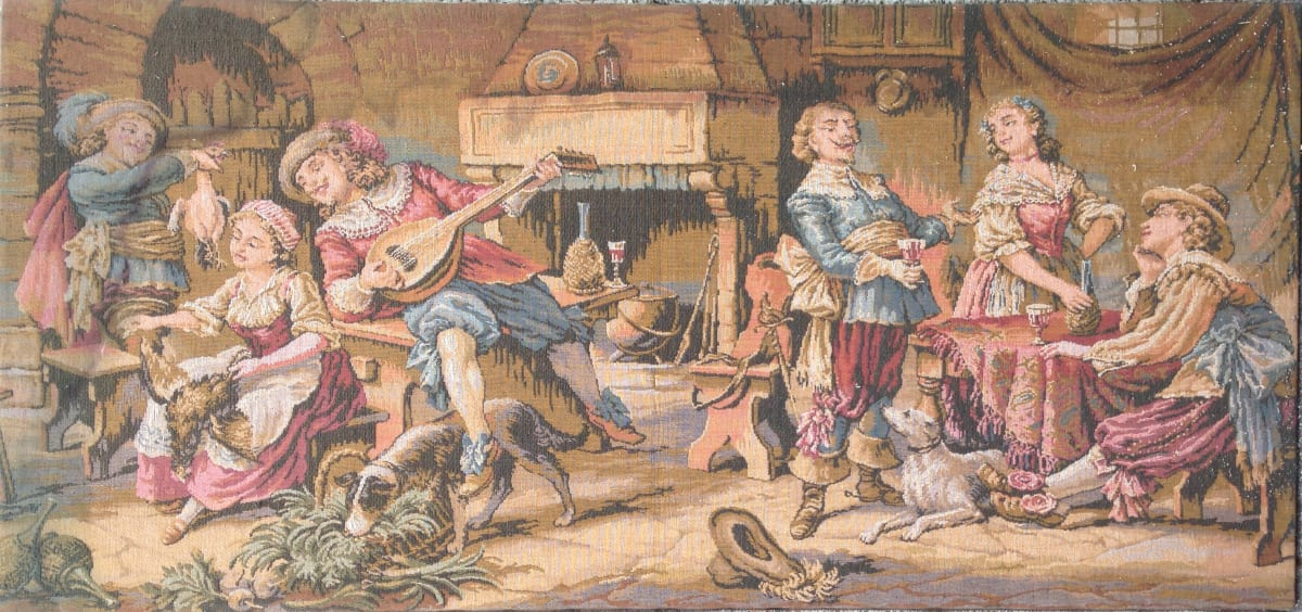 0974 - Party Scene Emrbroidery by Unknown