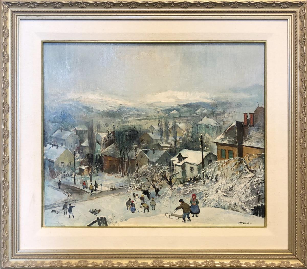 0663 - Winter Village by Antal Jancsek (1907-1985)