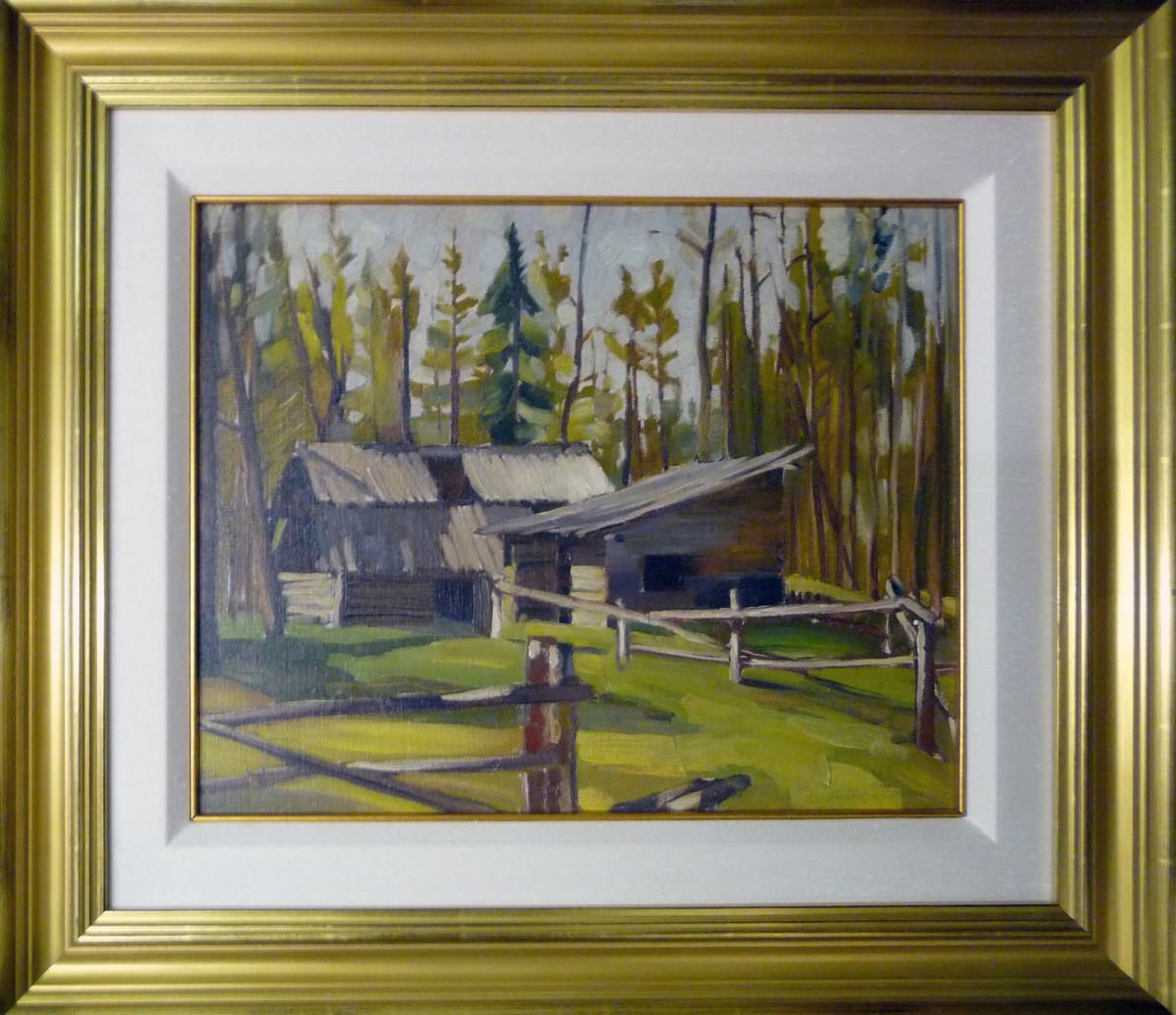 0234 - Old Shacks, Whitecourt Alberta by Llewellyn Petley-Jones (1908-1986)