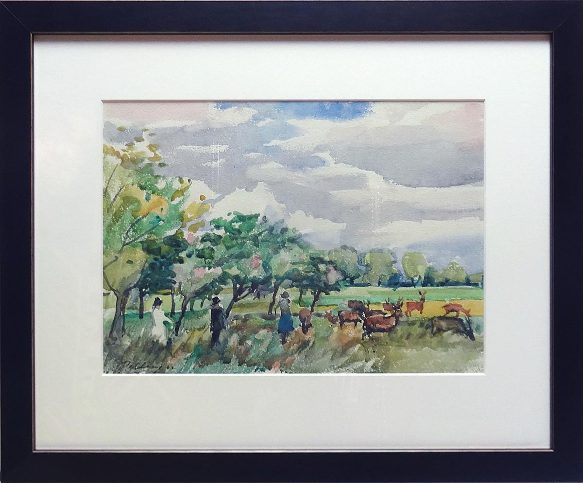 3083 - People and Deer, Richmond Park by Llewellyn Petley-Jones (1908-1986)