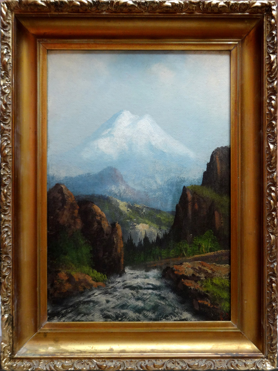 0142 - Landscape, mountain and stream by Unknown