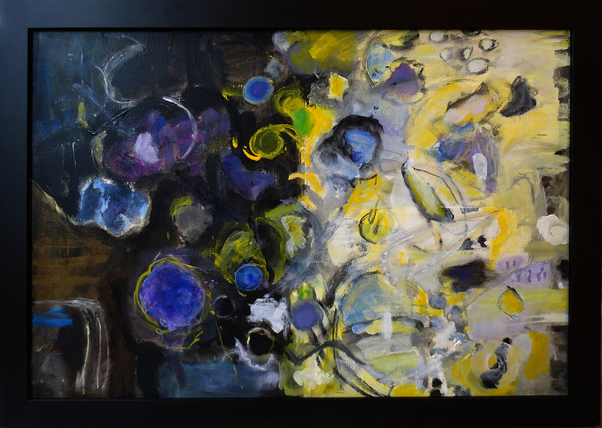 0018 - Abstract, purple and yellow by Charlotte Brieff