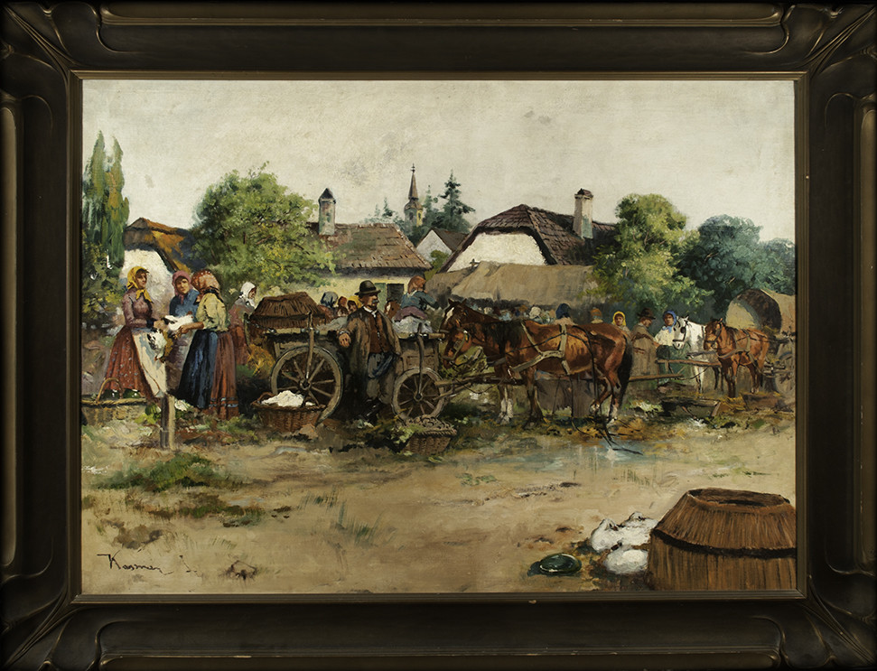 0063 - Village scene with people, horses and carts by Kasmir