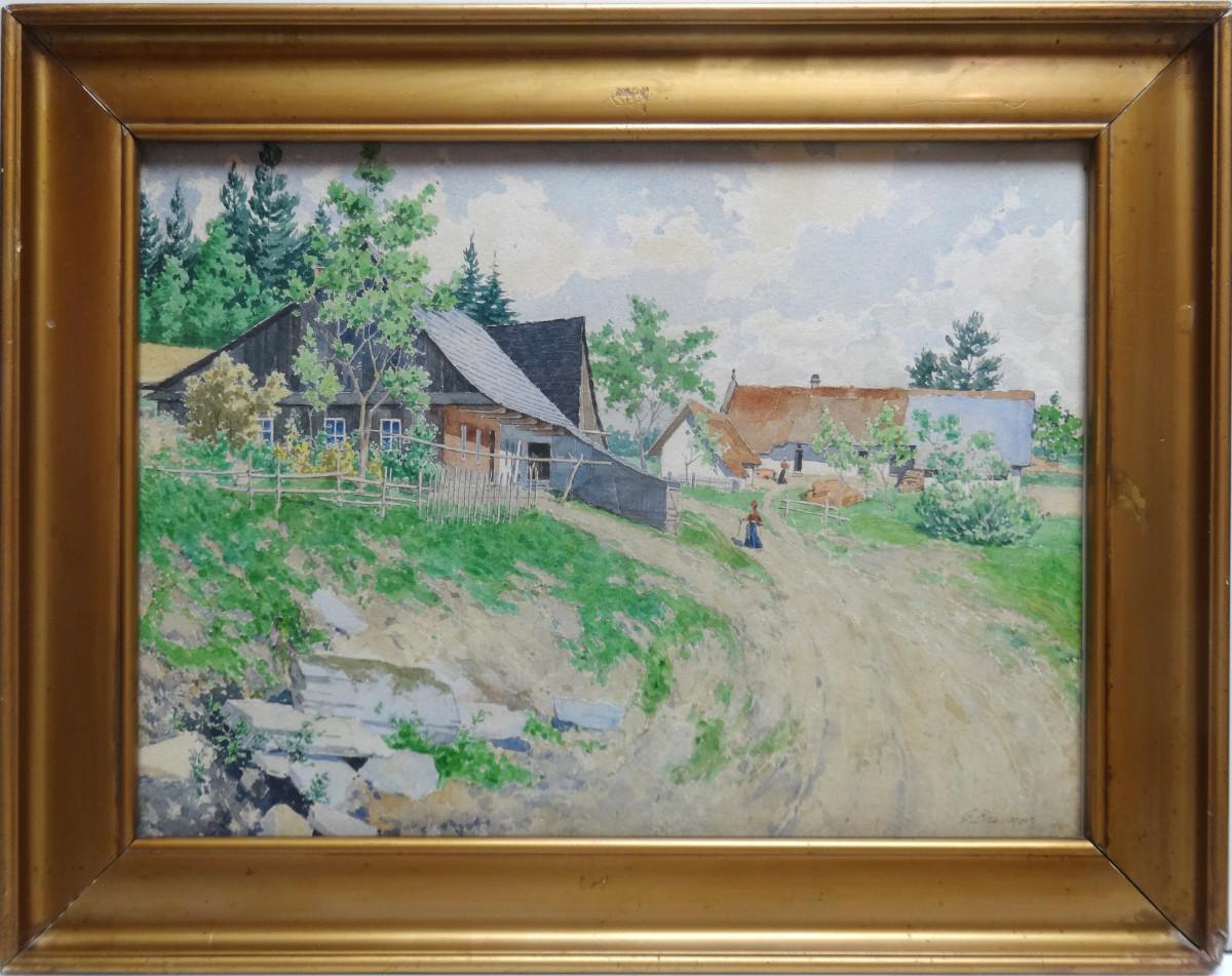 2007 -Farmyard with Figure by Gustav Brauner (1880-1966)