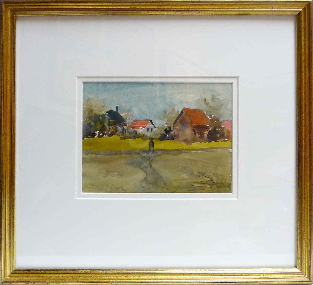 2371 - Untitled, Red Roof by Llewellyn Petley-Jones (1908-1986)