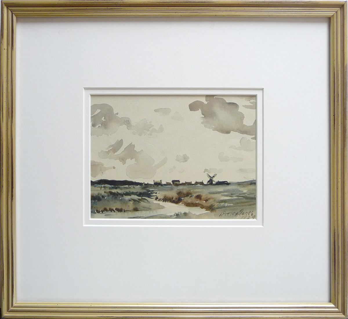 2370 - Untitled - landscape with Windmill by Llewellyn Petley-Jones (1908-1986)
