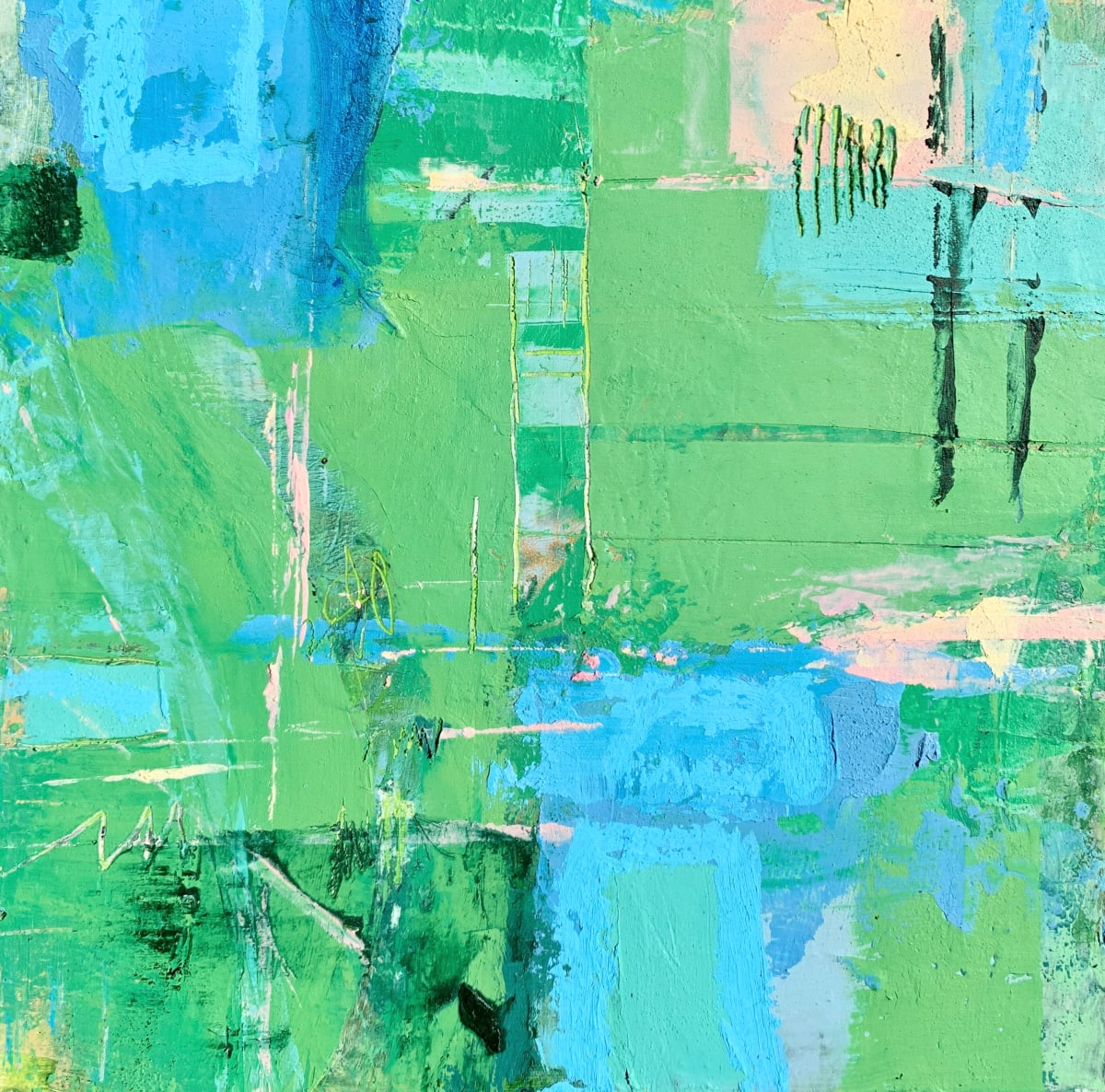 Greenery 2 by Sally Hootnick  Image: abstract landscape in oil and cold wax on wood panel