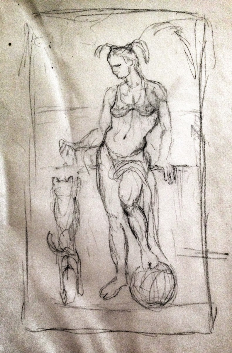 Girl with Dog by Richard Becker